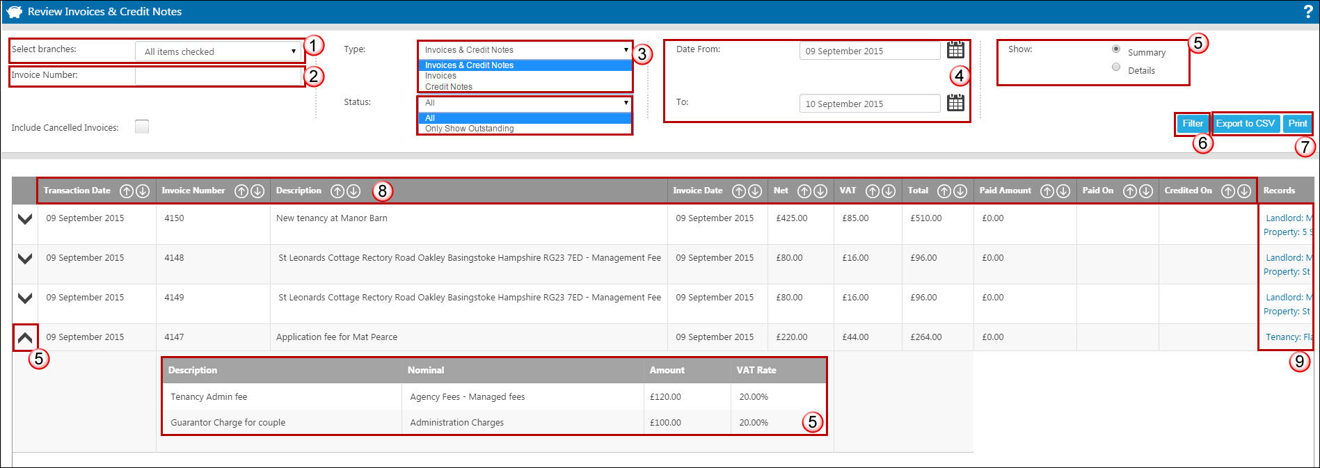 reviewing s invoices credit notes expert agent documentation apply the relevant filters for branch if necessary